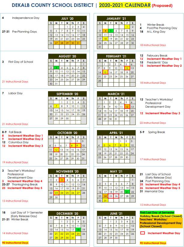 DeKalb Schools Proposed 2020-2021 Calendar