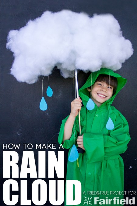 Looking for a quick and easy Halloween costume? Make a Rain Cloud to wear with jacket and some galoshes for Halloween!