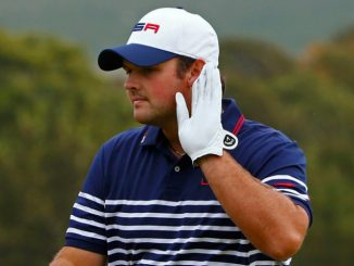 U.S. Ryder Cup player Patrick Reed reacts to the crowd on the ninth green during the 40th Ryder Cup singles matches at Gleneagles September 28, 2014.   REUTERS/Eddie Keogh (BRITAIN  - Tags: SPORT GOLF)   ORG XMIT: GLF34