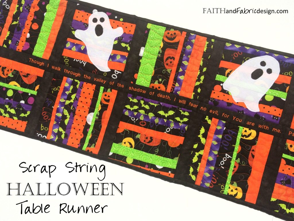 Pattern scrappy halloween table runner quilt faith and for Table runner quilt design