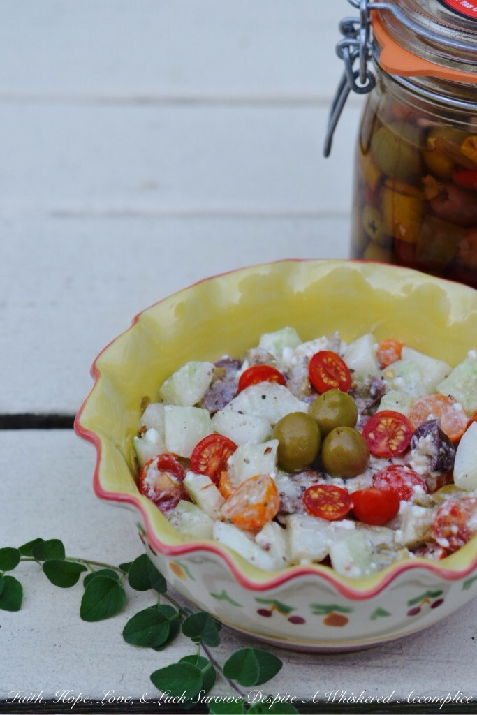 Greek Cucumber Salad | Faith, Hope, Love, and Luck Survive Despite a Whiskered Accomplice