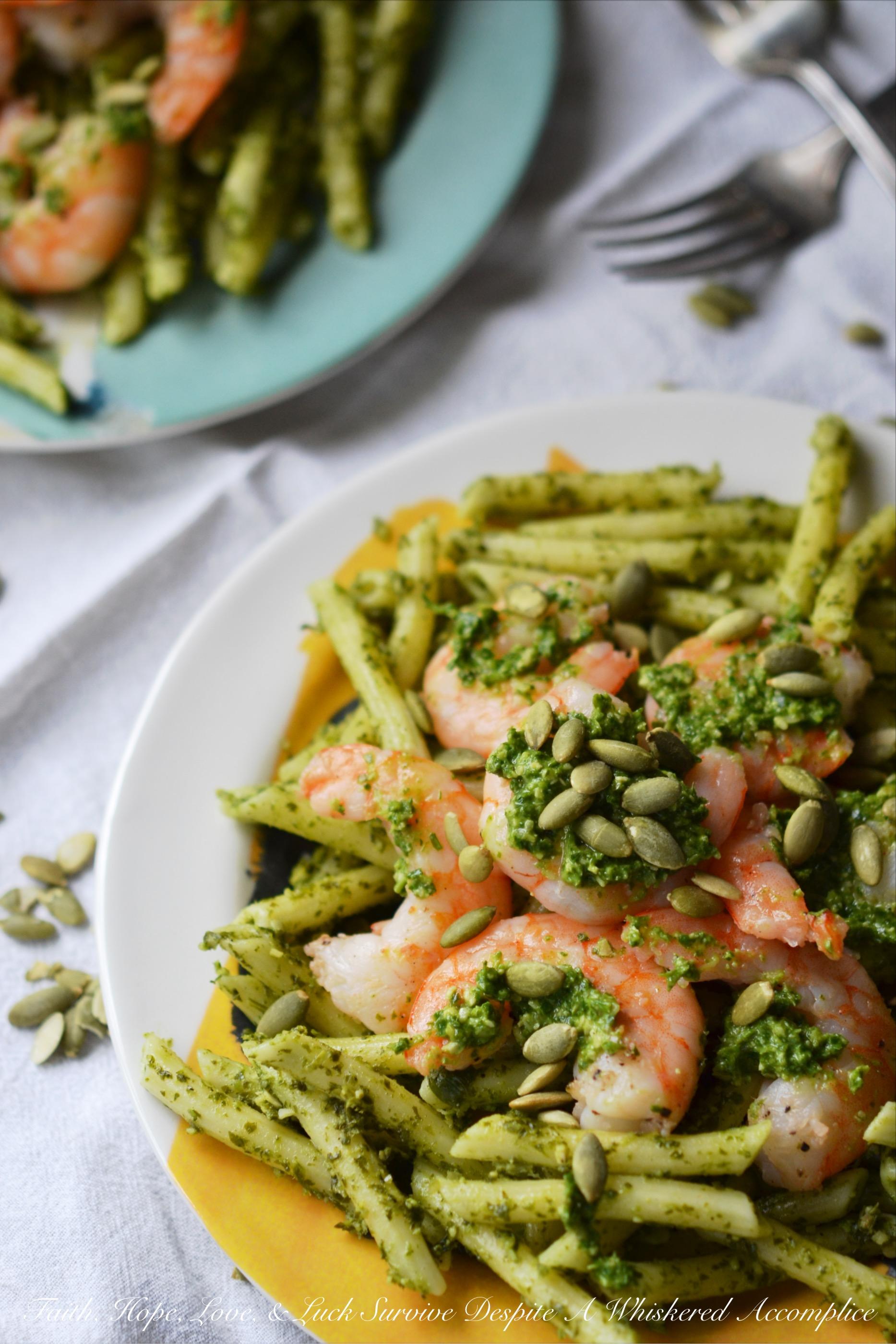 Pepita Pesto-Coated Pasta with Shrimp