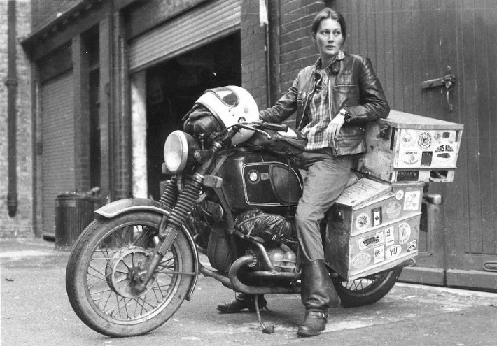 Elspeth Beard, shortly after becoming first Englishwoman to circumnavigate the world by motorcycle. The journey took 3 years and covered 48,000 miles.