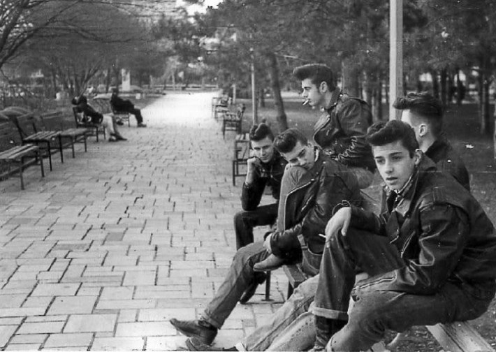 A gang of greasers in NYC, 1950.