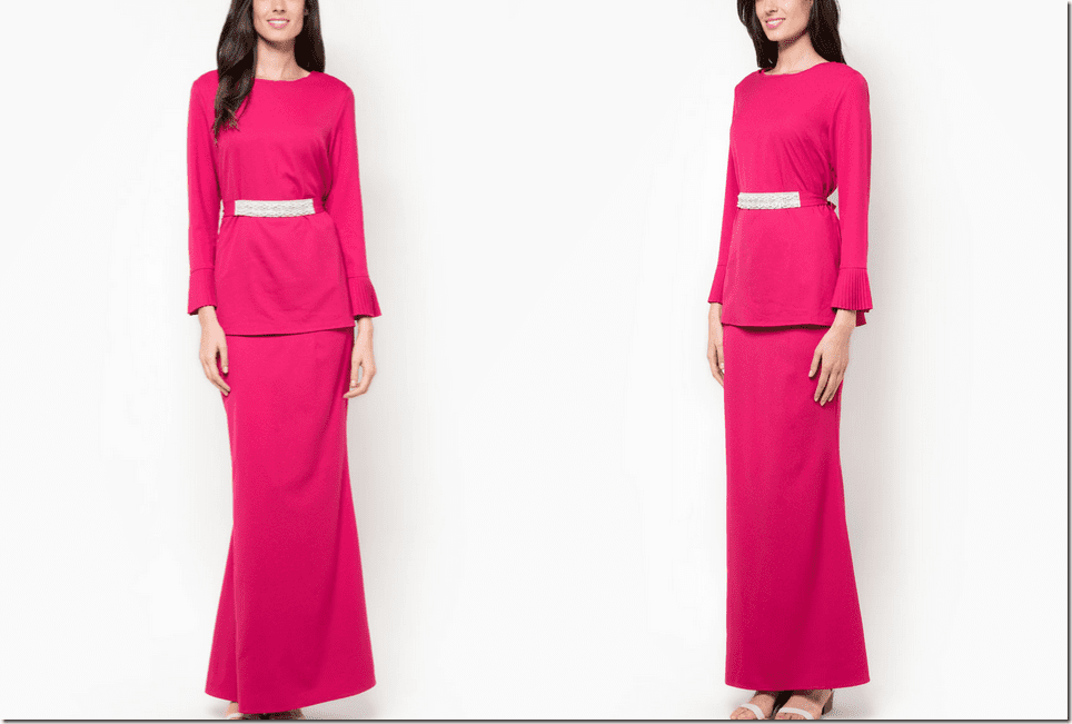 fuchsia pink baju kurung pleated sleeve