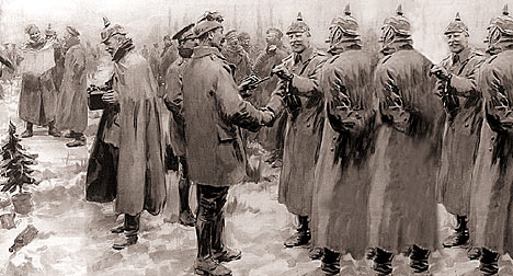 Artists impression of the Christmas Day truce on the Western Front in 1914
