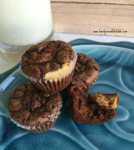 Mini Peanut Butter-Filled Brownie Cupcakes