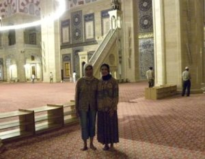 Touring the mosque in Adana, Turkey