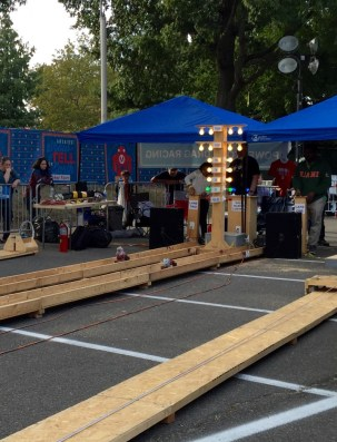 Maker Faire, Power Tool Drag Racing, belt sanders with stuffed animals on top