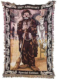 Emmett Kelly Sr 100th Anniversary Clown Carnival Throw Blanket Afghan New Gift