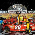 Matt Kenseth, driver of the #20 The Home Depot / Husky Toyota, celebrates with his crew in victory lane after winning the NASCAR Sprint Cup Series Bojangles' Southern 500 at Darlington Raceway on May 11, 2013  Photo - Rainier Ehrhardt/Getty Images