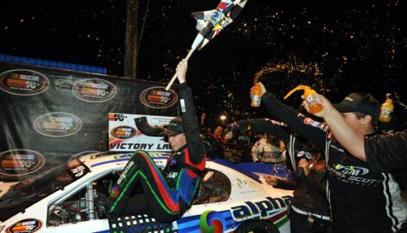 Rhodes celebrates his first career victory in the K&N Pro Series East at Greenville Pickens Speedway on Saturday, March 22, 2014.  Photo - Getty Images