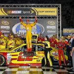 Joey Logano, driver of the #22 Shell Pennzoil Ford, celebrates in Victory Lane after winning the NASCAR Sprint Cup Series Irwin Tools Night Race at Bristol Motor Speedway on August 23, 2014 Photo - Sean Gardner/Getty Images