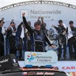 Chris Buescher, driver of the #60 Nationwide Children's Hospital Ford Mustang Ford, celebrates in victory lane after winning the Nationwide Children's Hospital 200 at Mid-Ohio Sports Car Course on August 16, 2014 Photo - Sean Glenn/Getty Images