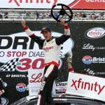 Joey Logano, driver of the #22 Discount Tire Ford, celebrates in victory lane after winning the NASCAR XFINITY Series Drive To Stop Diabetes 300 at Bristol Motor Speedway on April 18, 2015 Photo - Sean Gardner/Getty Images