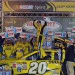 Matt Kenseth, driver of the #20 Dollar General Toyota, celebrates in Victory Lane after winning the NASCAR Sprint Cup Series Food City 500 at Bristol Motor Speedway on April 19, 2015 Photo - Drew Hallowell/Getty Images
