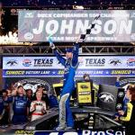 Jimmie Johnson, driver of the #48 Lowe's Pro Services Chevrolet, celebrates in Victory Lane after winning the NASCAR Sprint Cup Series Duck Commander 500 at Texas Motor Speedway on April 11, 2015 Photo - Brian Lawdermilk/Getty Images