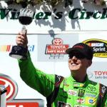 Kyle Busch, driver of the #18 M&M's Crispy Toyota, celebrates after winning the NASCAR Sprint Cup Series Toyota/Save Mart 350 at Sonoma Raceway on June 28, 2015 Photo - Ranier Ehrhardt/Getty Images