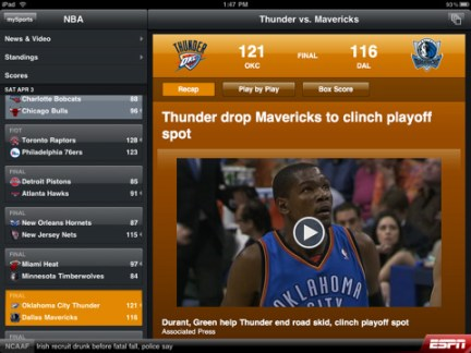 Scorecenter XL iPad App Review