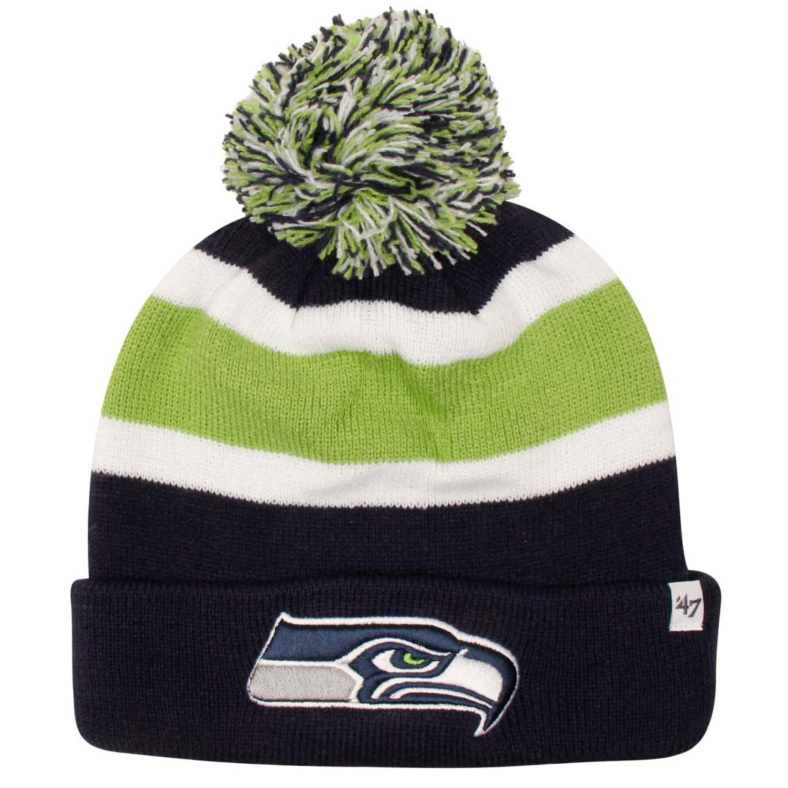 '47 Brand Seattle Seahawks Breakaway Knit Beanie - College Navy/Neon Green