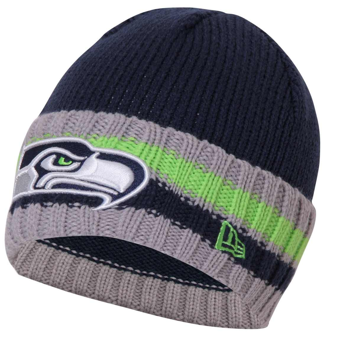 Seattle Seahawks New Era Gray Cuff Striper Knit Beanie - College Navy