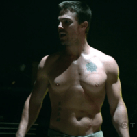 "Stephen Amell as Oliver Queen/Arrow shirtless in Arrow 1×06 ""Legacies"""