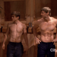 "Brandon Jones as Jebediah and Jack DePew as Jacob shirtless in 2 Broke Girls 2x07 ""And the Three Boys with Wood"""
