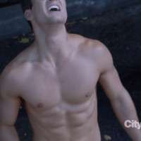 "Parker Young as Ryan Shay shirtless in Suburgatory 2x07 ""Krampus"""