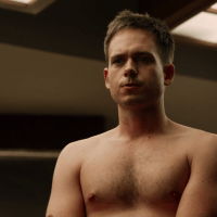 """Patrick J. Adams as Mike Ross and Rick Hoffman as Louis Marlowe Litt shirtless in Suits 3x02 """"I Want You to Want Me"""""""