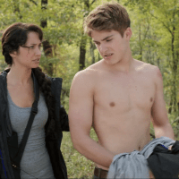 Cody Christian as Peter Malarkey shirtless in The Starving Games