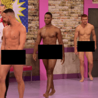"""RuPaul's Drag Race (season 7) Scruff Pit Crew shirtless/naked in 7x01 """"Born Naked"""""""