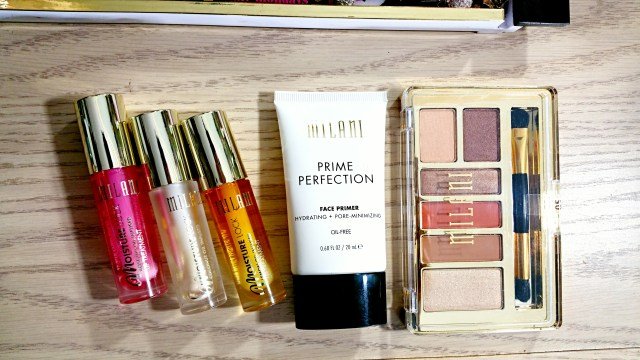 Milani Spring 2016 Picks: 05 Repairing Primrose Moisture Lock Oil Infused Lip Treatment, 01 Moisturizing Almond Coco Moisture Lock Oil Infused Lip Treatment, 02 Healing Lemon Honey Moisture Lock Oil Infused Lip Treatment, Prime Perfection Face Primer Hydrating + Pore Minimizing, 05 Earthy Elements Everyday Eyes Powder Eyeshadow Collection