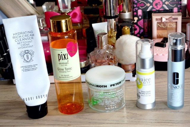 Bobbi Brown Hydrating Rich Cream Cleanser, Pixi Glow Tonic Exfoliating Toner, Peter Thomas Roth Cucumber Gel Mask, Juice Beauty Green Apple Age Defy Serum, Clinique Turnaround Concentrate Extra Radiance Renewer