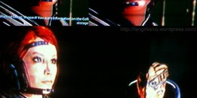 Female Commander Shepard and Garrus Vakarian wearing matching colors in Mass Effect 2