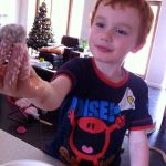 "7/12: making ""snowballs"" (chocolate truffles) with my little man"