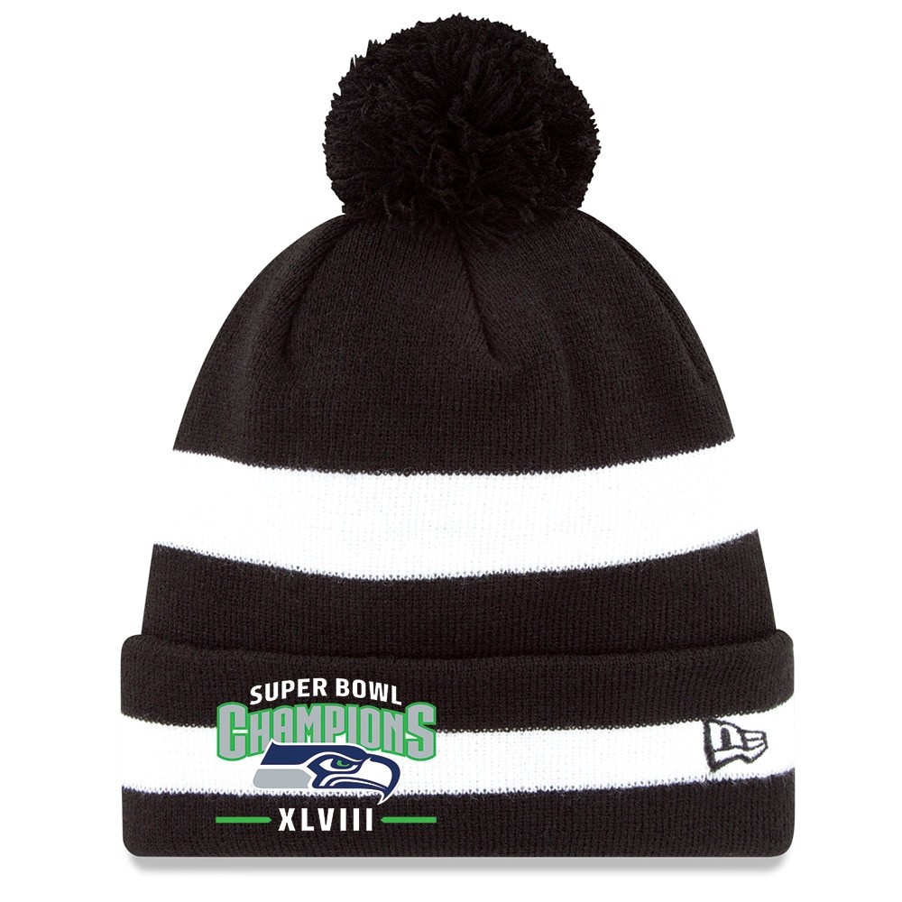 New Era Seattle Seahawks Super Bowl XLVIII Champions 2Tone Stripe Knit Hat with Pom BlackWhite