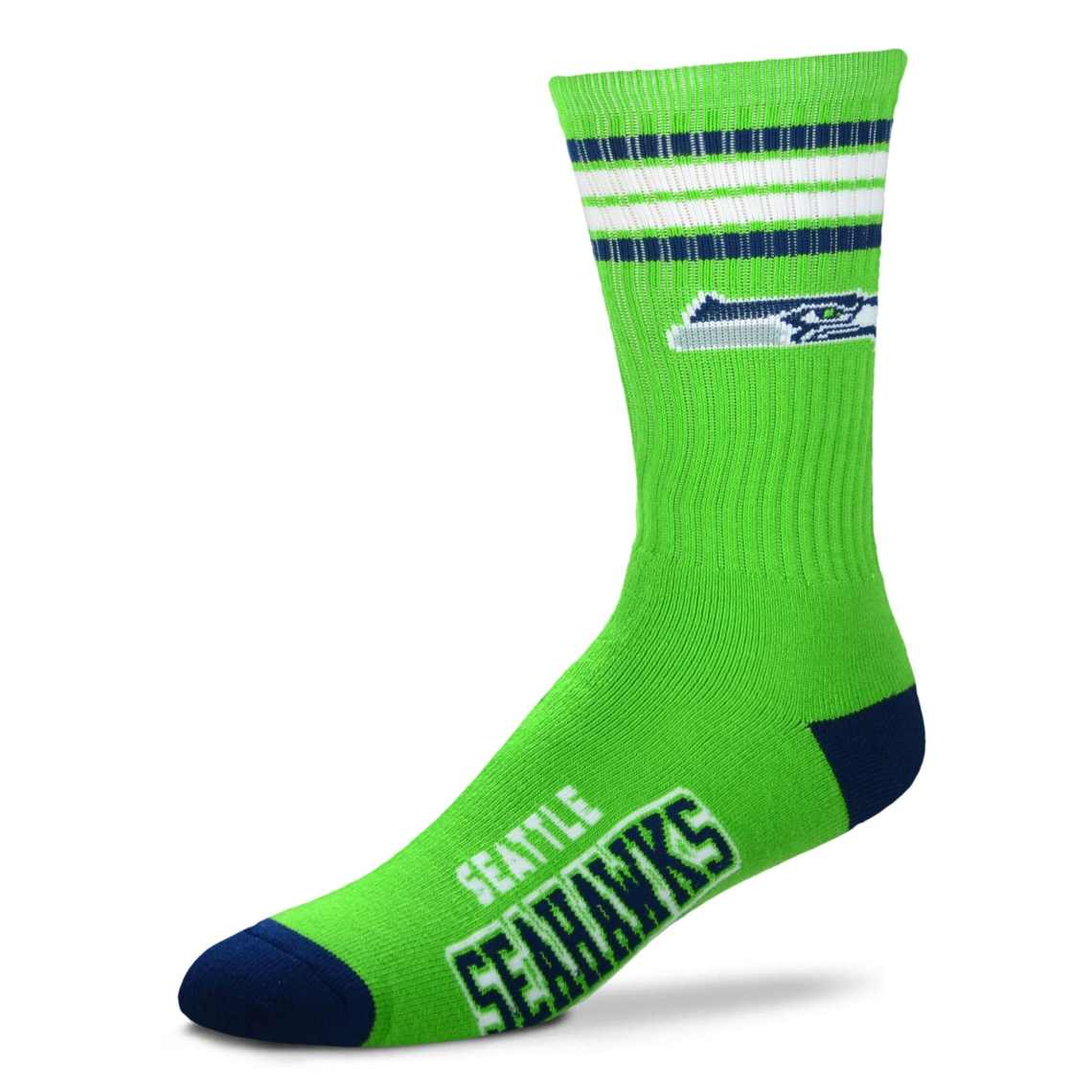 Seattle Seahawks For Bare Feet 4-Stripe Deuce Team Color Performance Crew Socks