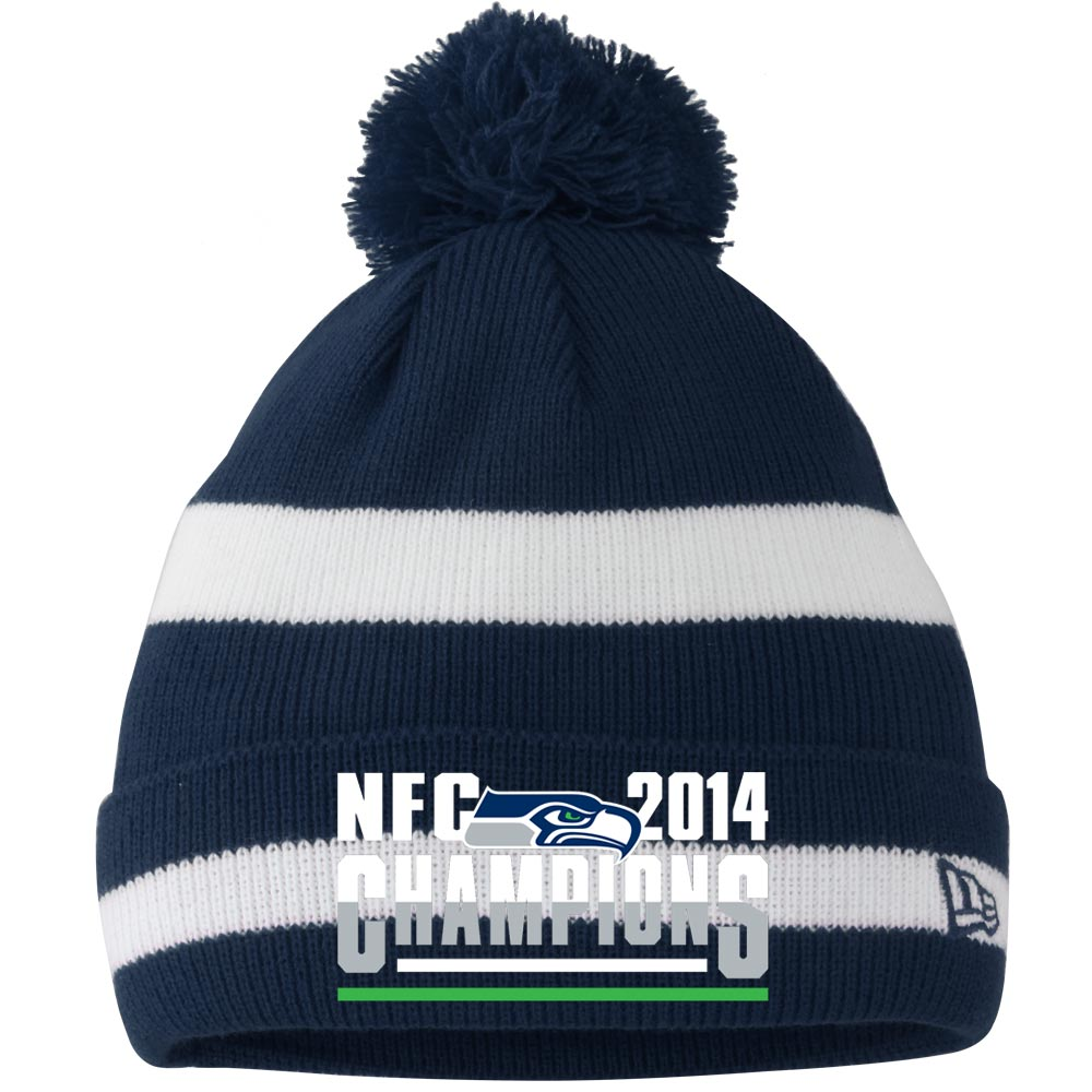 Seattle Seahawks New Era 2014 NFC Champions Two-Tone Cuffed Knit Hat with Pom - College Navy/White