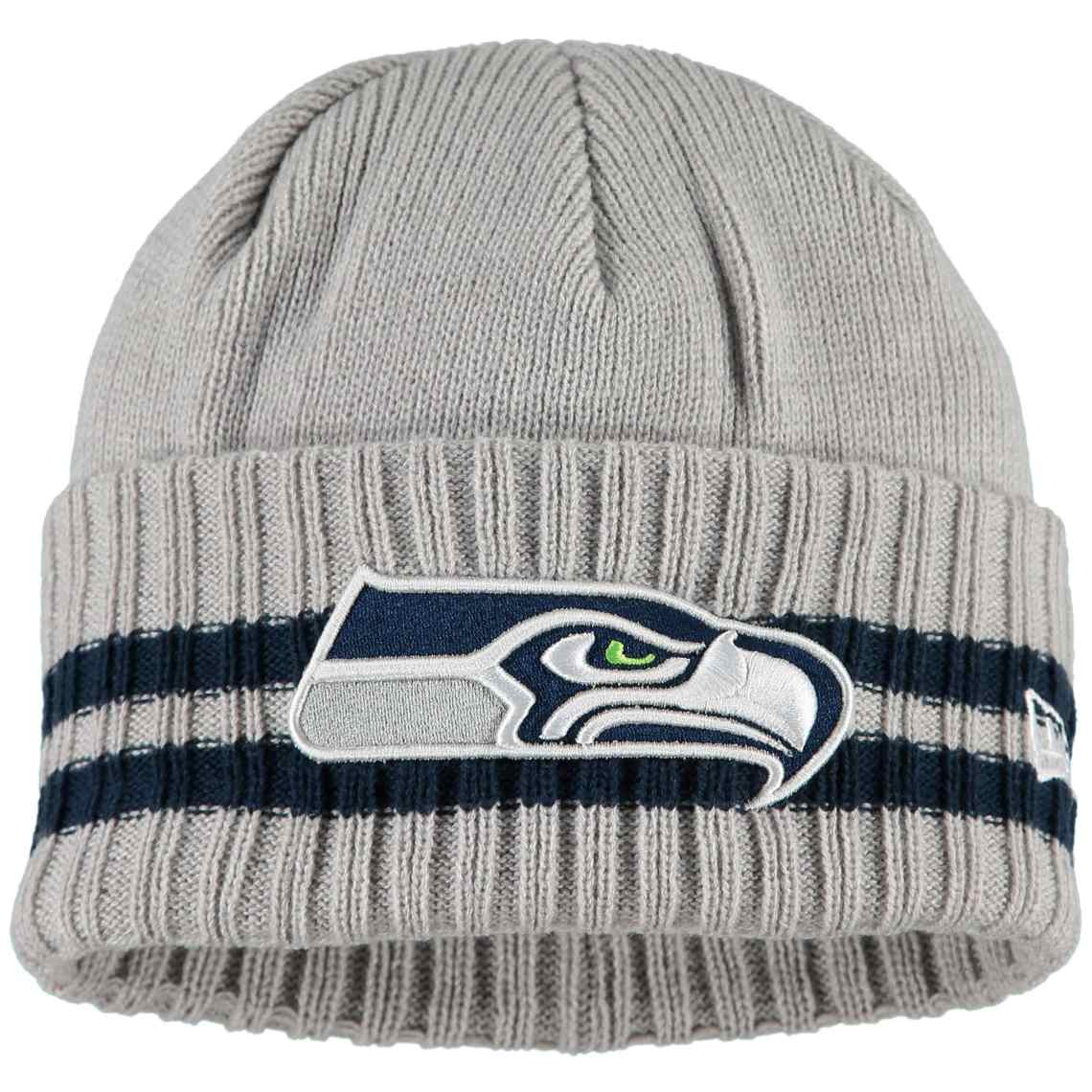 Seattle Seahawks New Era 2 Striped Cuffed Knit Hat - Heathered Gray