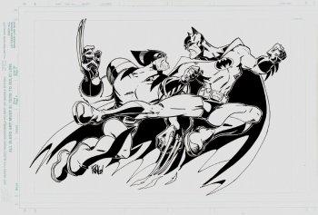 Wolverine vs Batman by Mike Wieringo