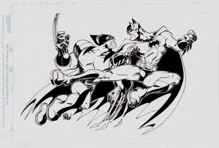Wolverine vs Batman by Mike Wieringo