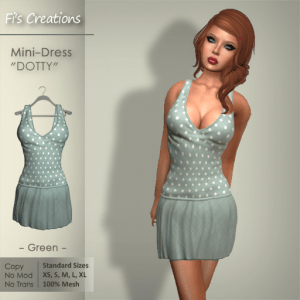 Fi's Creations - DOTTY green Mini-Dress - PICTURE