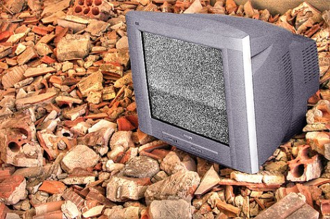 TV on loose stones and bricks