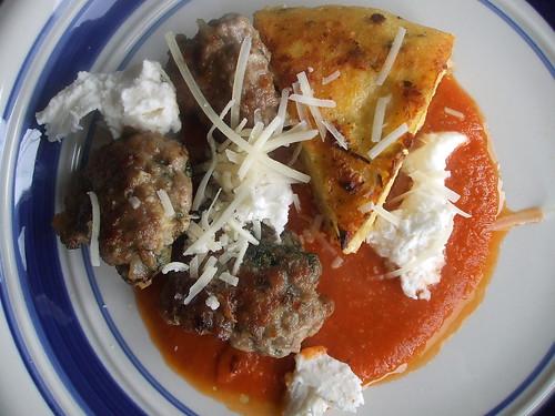 polenta, sausage, and pasta sauce