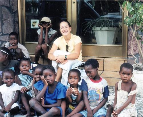 Kelli with Moz kids