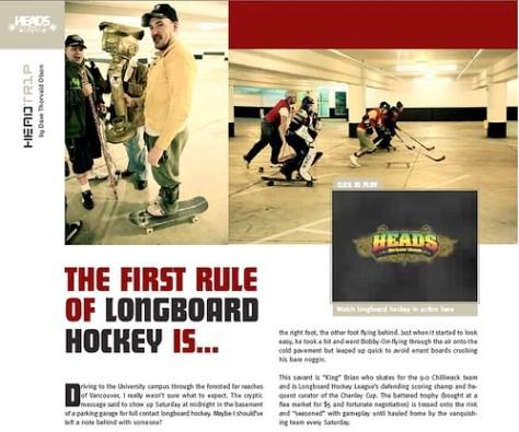 Longbord Hockey Article in Heads Magazine