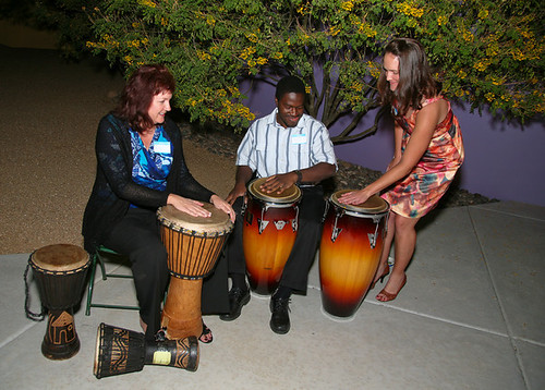 Rocking out with the drummers