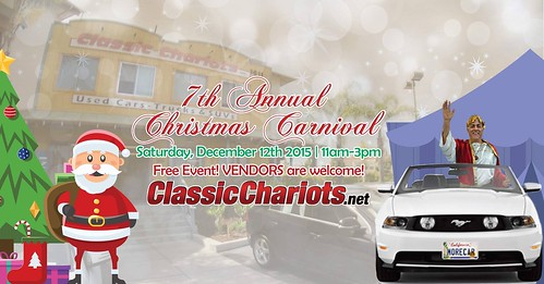 "OCEANSIDE CA USA - ""Classic Chariots 7th Annual Christmas Carnival""  Dec 12th Sat 11am to 3pm - bring your family friends! photos with Santa, food, face painting, kid games, bounce house, Christmas tree giveaways & prize raffles vendors too • <a style=""font-size:0.8em;"" href=""http://www.flickr.com/photos/134158884@N03/23689996645/"" target=""_blank"">View on Flickr</a>"