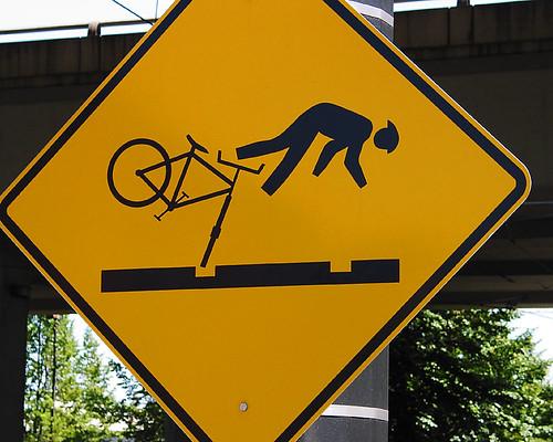 Railway tracks warning sign