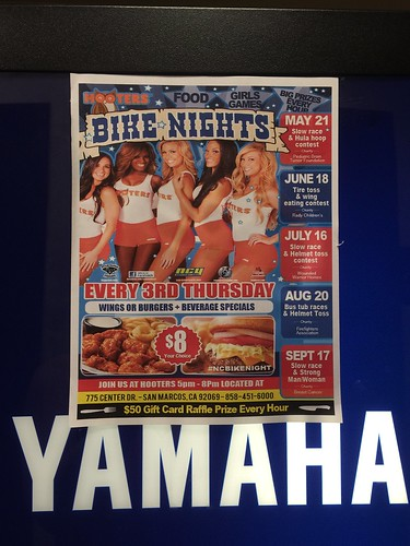 "SAN MARCOS CA USA ""Hooters Bike Night"" September 17 Thursday 5pm to 8pm - music , food , raffle prizes,  hooter girls, Yamaha dealer village - $50 gift card raffle prize every hour - wings or burgers and beverage specials • <a style=""font-size:0.8em;"" href=""http://www.flickr.com/photos/134158884@N03/20689249413/"" target=""_blank"">View on Flickr</a>"